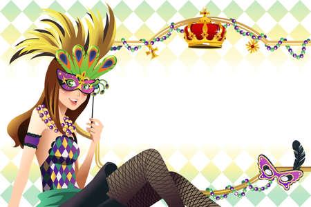 Een vector afbeelding van jonge meisje houdt mardi gras masker met een kopie ruimte Stock Illustratie