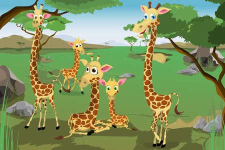 jirafa caricatura: Una ilustración vectorial de una familia de jirafas en la sabana