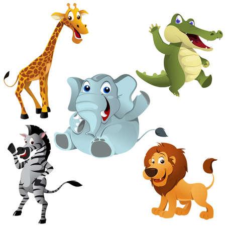 Una ilustración vectorial de los animales africanos establece Ilustración de vector
