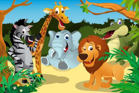 selva: Una ilustración vectorial de un grupo de animales africanos salvajes en la selva