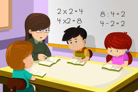 teacher student: Una ilustraci�n vectorial de los ni�os que estudian matem�ticas en el aula con el maestro Vectores