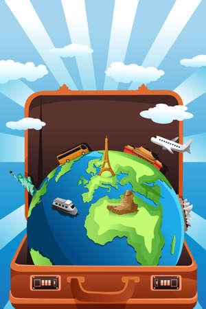 Een vector illustratie van koffer met globe in het voor reizen concept