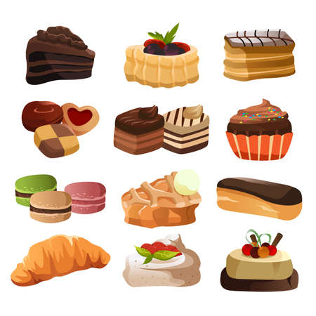 A vector illustration of pastry icon sets 일러스트