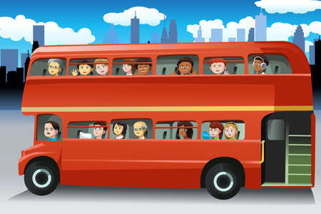 A vector illustration of different people looking out from the windows of a bus
