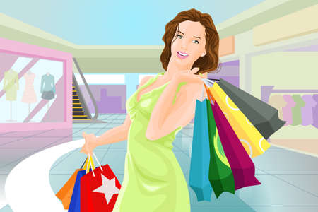 A vector illustration of beautiful happy woman with shopping bags in a mall Vector