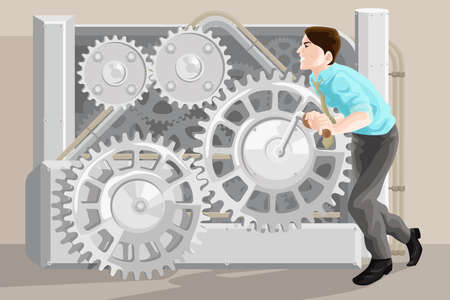 hardworking: A vector illustration of businessman pushing the gear of a machine  Illustration