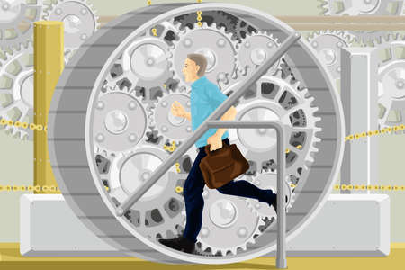 hardworking: A vector illustration of young businessman running in a gear of a machine  Illustration