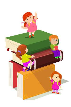 아이들이 책의 스택에 등반의 벡터 일러스트