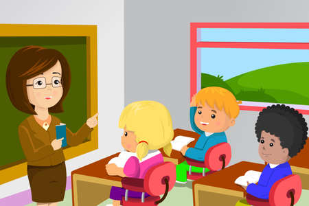 A vector illustration of kids studying in classroom with teacher Vector