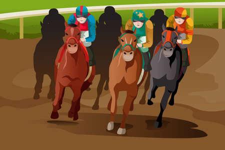 caballos corriendo: Una ilustración vectorial de carreras de caballos en una pista