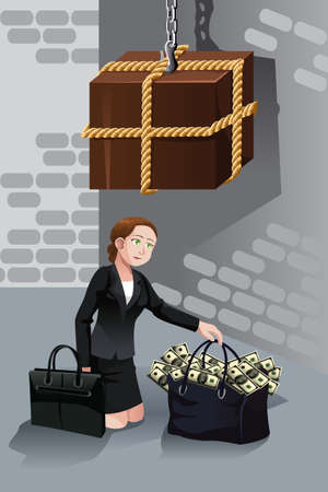 dangerous woman: A vector illustration of business risk concept where a businesswoman trying to  take bag full of money