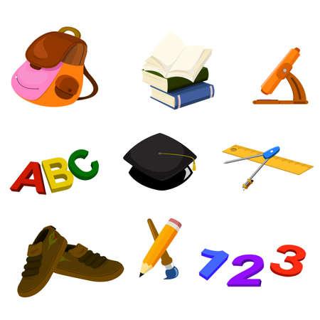zapatos escolares: Una ilustración vectorial de nuevo a la escuela establece icono
