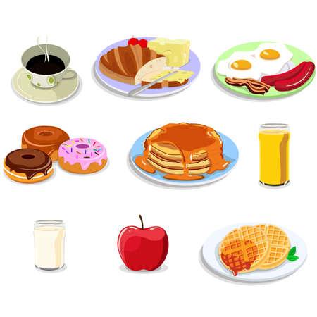 pan con mantequilla: Una ilustraci�n vectorial de desayuno ic�nico alimentos establece