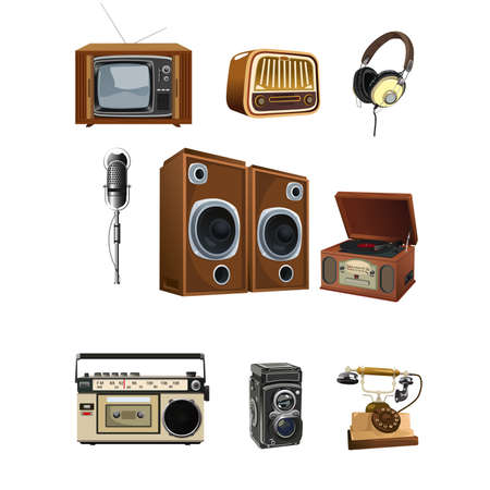 A vector illustration of vintage media stuff icon sets Vector
