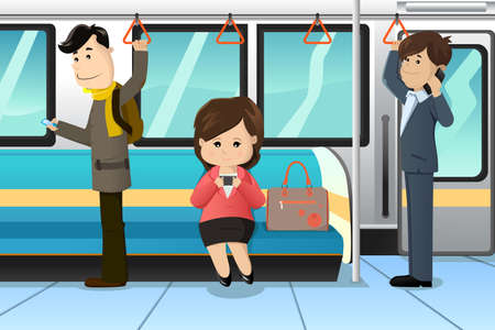 calling: A vector illustration of peoples using cell phones in a train Illustration