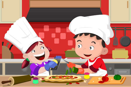 A vector illustration of happy kids having fun in the kitchen making pizza Vector
