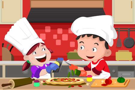 niños cocinando: Una ilustración vectorial de niños felices que se divierten en la cocina haciendo pizza