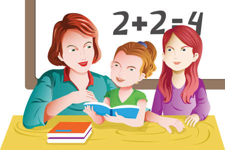 A vector illustration of kids studying math in classroom with teacher Stock fotó - 19897131