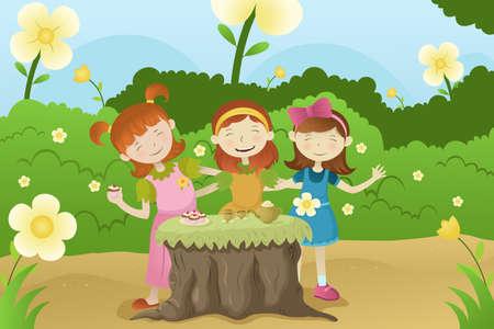 amigos comiendo: Una ilustraci�n vectorial de las ni�as felices que tienen una fiesta en el jard�n
