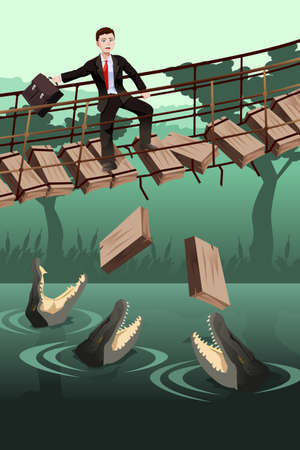 where: A vector illustration of business risk concept where a businessman walking on a broken bridge with dangerous crocodiles underneath