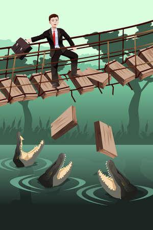 Een vector illustratie van de zakelijke risico concept waar een zakenman lopen op een kapotte brug met gevaarlijke krokodillen eronder Vector Illustratie