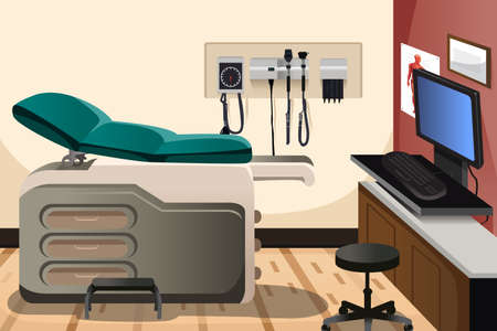 blood pressure monitor: A vector illustration of doctor office with copyspace