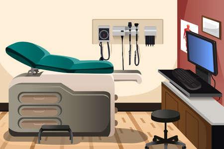 Una ilustración del vector de la oficina del doctor con copyspace