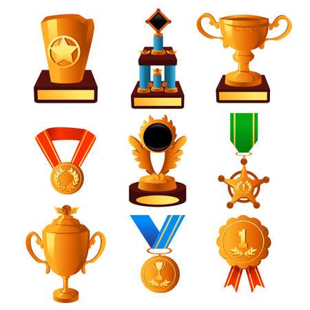 cobranza: Una ilustración del vector de la medalla de oro y el icono del trofeo establece Vectores