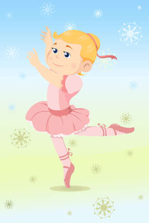 A vector illustration of a beautiful girl dressed as a ballerina