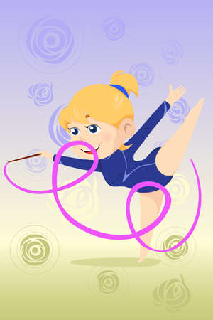 A vector illustration of a beautiful girl doing gymnastics dance with ribbon Vector