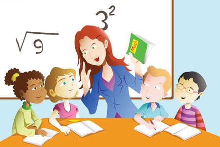 classroom teacher: Una illustrazione vettoriale di ragazzi che studiano la matematica in aula con insegnante