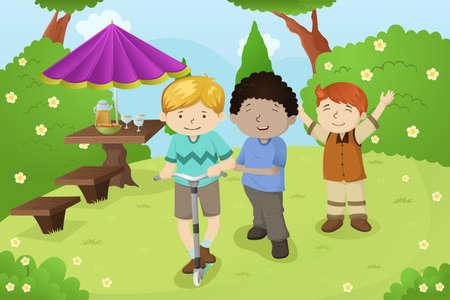 Een vector illustratie van gelukkige jongens spelen in een park Stock Illustratie