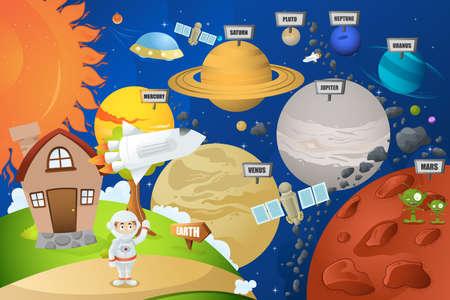 Een vector illustratie van de astronaut en planeetsysteem