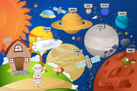 A vector illustration of astronaut and planet system