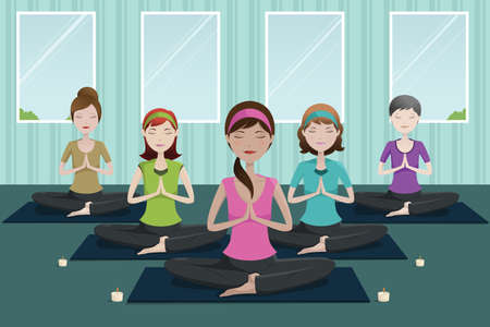 workout gym: A vector illustration of group of happy women doing yoga in a studio