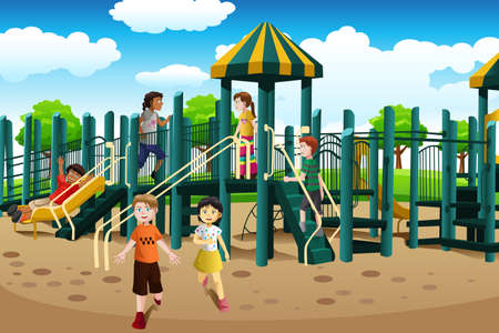 A vector illustration of kids from different ethnics playing together in the playground Vector