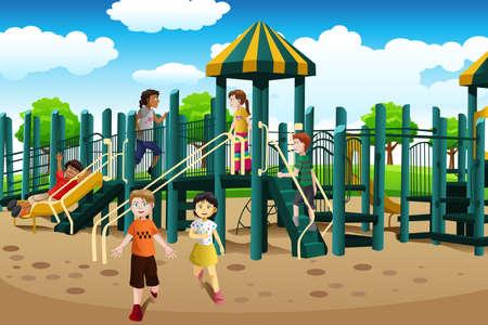 ilustracion: Una ilustración vectorial de los niños de diferentes etnias jugando juntos en el patio de recreo