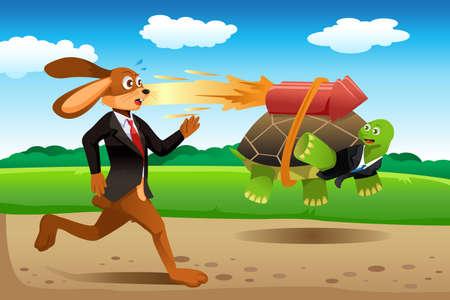 거북이와 토끼 경주의 벡터 일러스트
