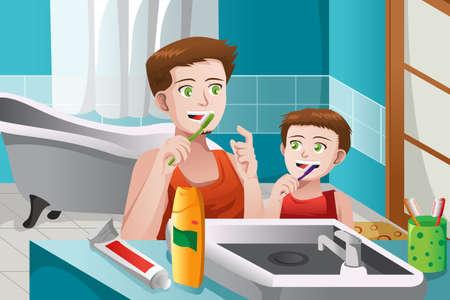 Vector father and son: Một minh họa véc tơ của cha dạy con trai ông làm thế nào để đánh răng