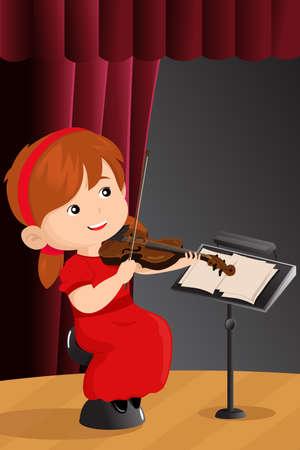 Een vector afbeelding van mooie meisje spelen viool op het podium