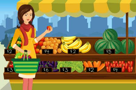 Een vector illustratie van mooie vrouw winkelen in een outdoor boerenmarkt Stock Illustratie