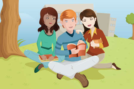 adults learning: A vector illustration of multi-ethnic college students studying outdoor on the grass Illustration