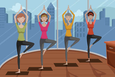 A vector illustration of group of happy women doing yoga in a studio