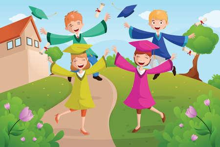 estudiantes de colegio: Una ilustraci�n vectorial de estudiantes universitarios feliz celebraci�n de la graduaci�n