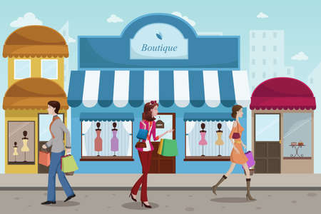 A vector illustration of stylist people shopping in an outdoor mall with French boutique style Illustration