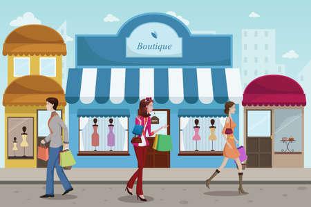 plaza comercial: Una ilustraci�n del vector de la gente estilista de compras en un centro comercial al aire libre con estilo boutique, Franc�s
