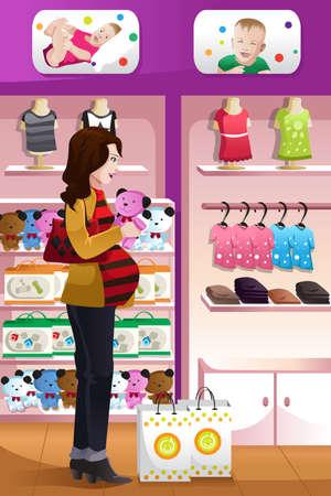 재료: 아기 물건에 대한 행복 임신 한 여자의 쇼핑의 벡터 일러스트