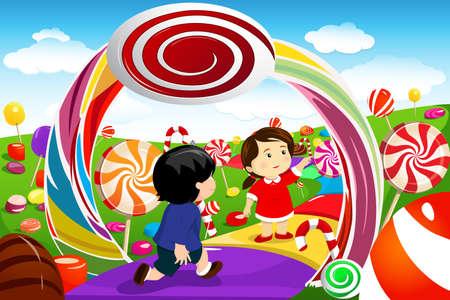 golosinas: Una ilustración vectorial de niños felices jugando en una tierra de caramelo