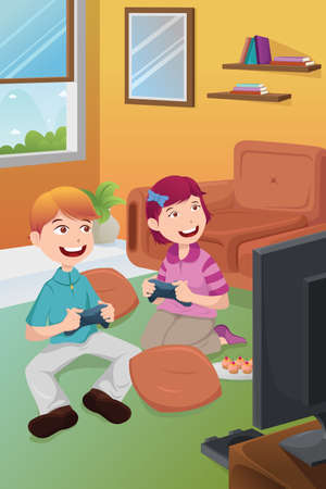 A vector illustration of kids playing video games at home