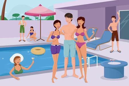 and people: Una ilustración vectorial de los jóvenes de moda que tienen una fiesta en la piscina